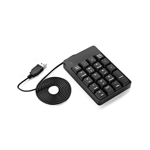 USB Numeric Keypad, Jelly Comb N001 Portable Slim Mini Number Pad for Laptop Desktop Computer PC, Full Size 19 Key, Big…