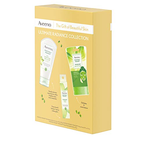 41veCsRBPXL - Aveeno Ultimate Radiance Collection Skincare Gift Set with Brightening Daily Face Scrub, Peel-Off Face Mask, and Infusion Drops, Evens Skin Tone for Softer, and Glowing Skin, 3 items
