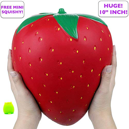 Simplistic Plus Slow Rising Toy, 10 Inch Jumbo Strawberry Squishy Cream Scented Simulation Cute Fruit Squeeze Toys for Collection Gift, Decorative Props Large or Stress Relief