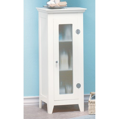 Gifts & Decor Wood White Finish Home Decor Bathroom Storage Cabinet