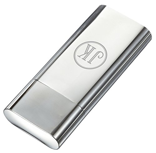 Personalized Visol Palencia Polished Stainless Steel 2 Finger Cigar Case - Free Engraving (Single Initial)