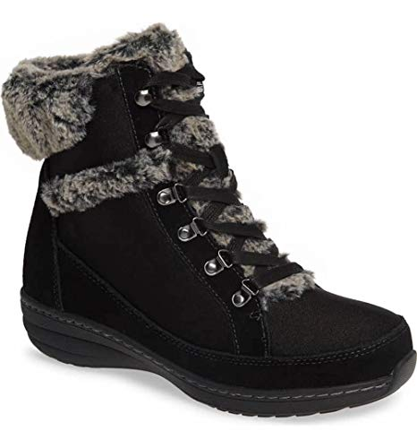 (Aetrex Womens Fiona Suede Almond Toe Ankle Cold Weather Boots, Black, Size 8.5)