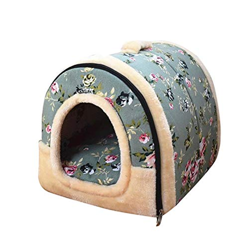 Pet House Sofa Flowers Print Warm Pet Dog Cat Sleeping Bed Rabbit Kitty Small Animal Kennel Cage Dog Beds 81206,Green,S ()