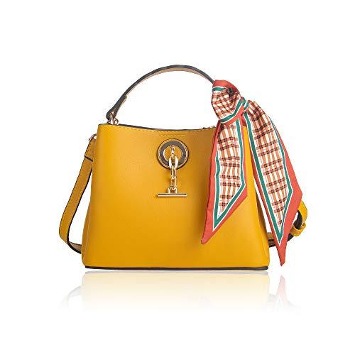 MICKORS Women Small Top Handle Satchel Bucket Handbags Cute PU Leather Crossbody Shoulder Purse with Scarf