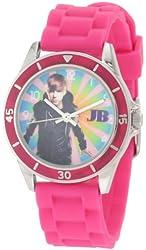 Justin Bieber Women's JB1003 Fuschia Rubber Strap & Bezel With Multi colored Dial Watch