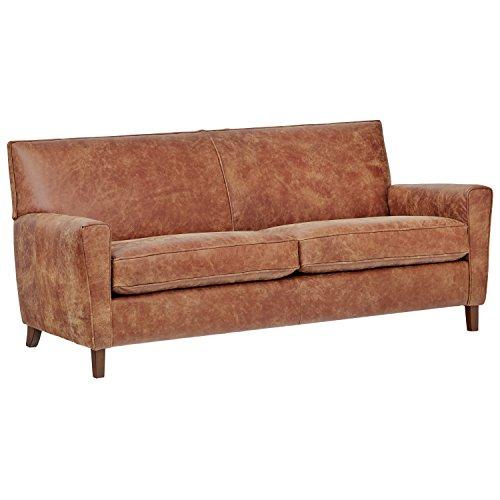 Rivet Lawson Modern Angled Leather Sofa, 78″W,