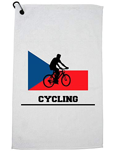 Hollywood Thread Czech Republic Olympic - Cycling - Flag - Silhouette Golf Towel with Carabiner Clip by Hollywood Thread