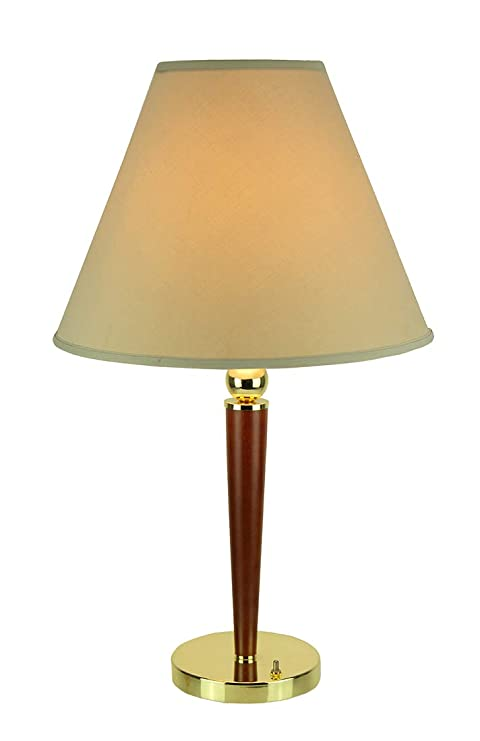 Wood And Polished Brass Finish Taper Table Lamp Amazon Com