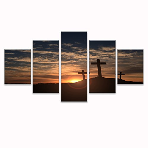 VV ART-Crosses at Sunset Wall Art Canvas Prints Art Home Decor for Living Room Pictures 5 Panel Large HD Printed Painting Framed Ready to Hang