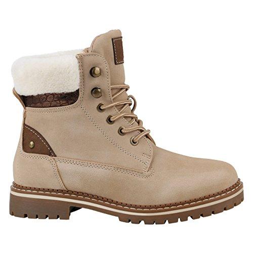Stiefelparadies Warm Gefütterte Damen Stiefeletten Fell Worker Boots Outdoor Schuhe Flandell Creme Metallic