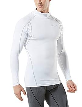 Tesla Tm-mut12-wht_large Men's Mock Long-sleeved T-shirt Cool Dry Compression Baselayer Mut12 1