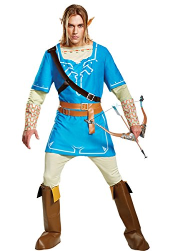 Adult Link Costumes (Disguise Men's Link Breath of the Wild Deluxe Adult Costume, Blue, Medium)