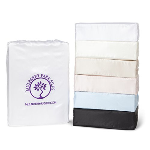 Twin Silk Sheet Set (15'' Pocket) - White - DELUXE 22 Momme 100% Pure Mulberry Charmeuse Natural Bedding - OEKO-TEX Certified - Seamless by Mulberry Park Silks
