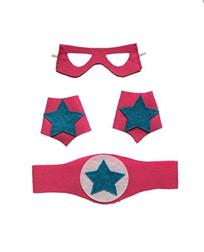 Superhero Girl Costume Accessories (Mask, Belt, Arm Cuffs set) - pink/stars