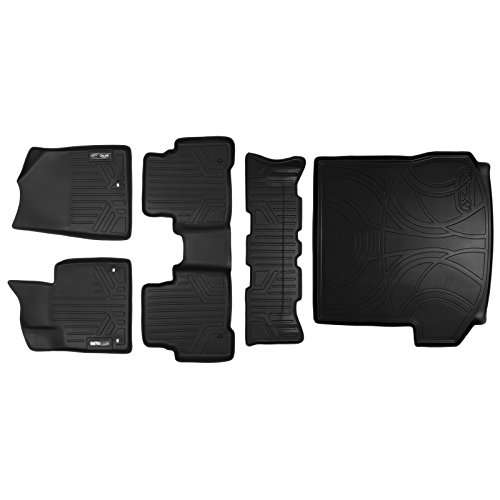 (SMARTLINER Floor Mats (3 Rows) and Cargo Liner Behind 2nd Row Set Black for 2013-2018 Hyundai Santa Fe with 3rd Row Seat)