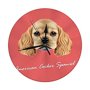 Yxungdiy Modern Wall Clock Portrait of American Cocker Spaniel Puppy Cute Fluffy Golden Face Domestic Decorative Round Silent Clock 9.8IN 35