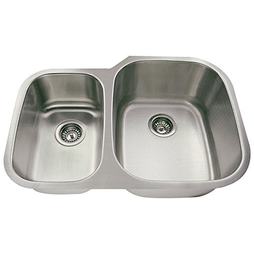 506R 18-Gauge Undermount Offset Double Bowl Stainless Steel Kitchen Sink (Stainless Steel Undermount Kitchen Sink Double Bowl Offset)