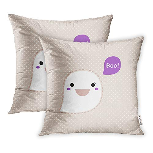 Emvency Set of 2 Throw Pillow Covers Cases Anime Cute Kawaii Ghost Dotted Retro Boo Clipart Adorable Animal Animation 20