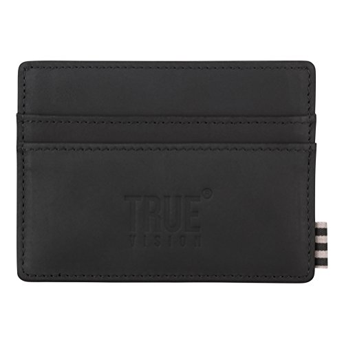 Box Grain Lined for Leather Includes Compartments Nubuck Notes Cotton Black Blocking with Credit Black RFID True Wallet Top Card Men Vision Leather Card Slim for Gift Leather Wallet pHzqgR4P