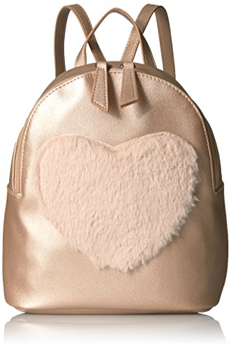 Rose Fur (T-Shirt & Jeans Faux Fur Heart Mini Back Pack, Rose Gold)