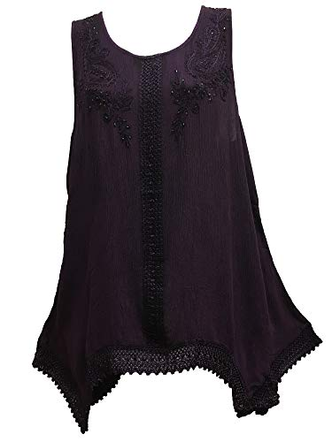 Indian Bohemian Marble Wash Embroidered Cotton Sleeveless Cami Blouse Top (Regular, Purple)