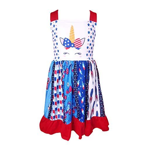 Little Girls July 4th Patriotic Unicorn Stars Stripes Red White Blue Dress 10-12/5XL