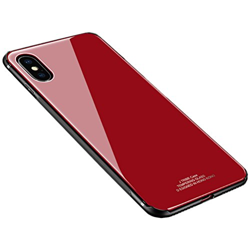 iPhone X Case, HONTECH Silicone Shockproof Tempered Glass Mirror Back Cover Bumper Shell for Apple iPhoneX 10,Red