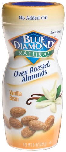 Blue Diamond Natural Oven Roasted Almonds Vanilla Bean, 8-Ounce Jars (Pack of 6)