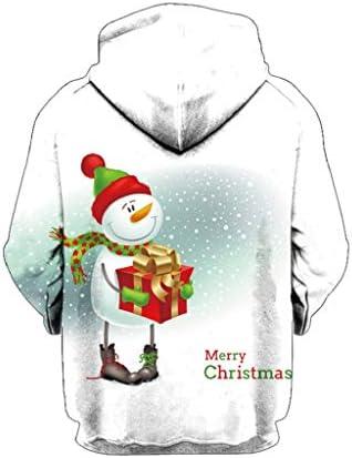 Luckycat Damen 3D Druck Sweatshirts Weihnachten Pullover mit Cartoon Aufdruck Kapuzenjacke Langarm Top Hoodie Sweatshirt Weihnachten Paar Pullover mit Kapuze Weihnachtselch