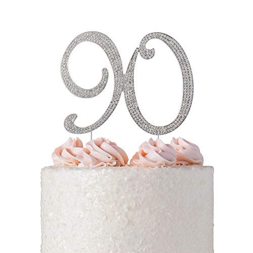 90 Cake Topper | Premium Sparkly Crystal Rhinestones | 90th Birthday or Anniversary Party Decoration Ideas | Quality Metal Alloy | Perfect Keepsake (90 Silver)
