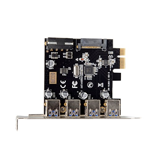 JSER 4 Ports PCI-E to USB 3.0 HUB PCI Express Expansion Card Adapter 5Gbps for Motherboard