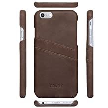 NAVOR® Genuine Leather Cards Pocket Case for iPhone 6 Plus / 6S Plus [5..5 Inch] Coffee (IP6PG16CF)