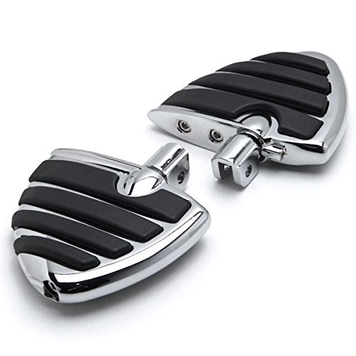 Krator Chrome Motorcycle Wing Foot Pegs Footrests L+R For Can-Am Spyder RS Models 2008-2013 Front
