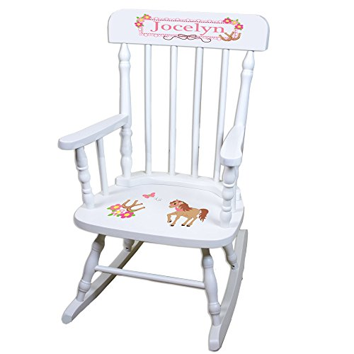 Personalized Ponies Prancing White Childrens Rocking Chair by MyBambino