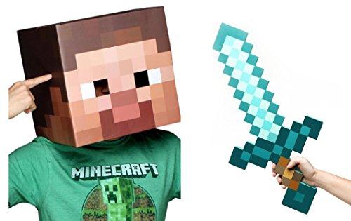 [Minecraft Steve Head & Diamond Sword Costume Set] (Adult Minecraft Costumes)