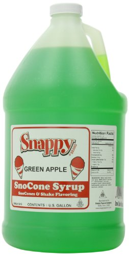 Snappy Popcorn Snow Cone Syrup Gallon, Green Apple, 1 Gallon