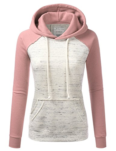 DOUBLJU Basic Lightweight Pullover Hoodie Sweatshirt for Women Mauvepink XL