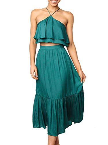 BerryGo Women's Casual 2 Pieces Halter Ruffle Dress Crop Top Maxi Skirt Set Green
