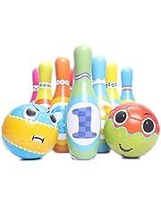 QKFON Çocuk Bowling Oyuncak Seti 2 Bowling Topu içerir 6/10 Renkli Yumuşak Köpük Pinler Ev Oyunları Erken Eğitim Oyuncakları Açık Hava Kapalı Spor Oyuncak Erkek ve Kız Çocuklar için En İyi Doğum Günü Hediyesi