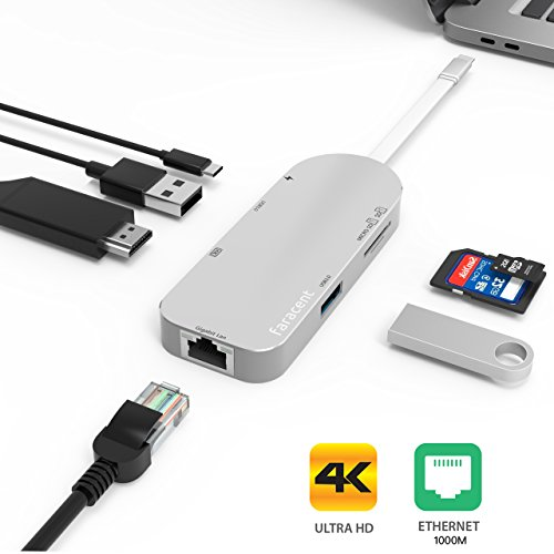 USB C Hub HDMI 4K,Faracent USB C to HDMI 4k/30Hz + Gigabit ethernet RJ45,With 2USB 3.0,SD/TF card reader for 2017 Macbook 13'' 15'' Dell XPS Alienware 15 ThinkPad New S2 2017,Silver by Faracent