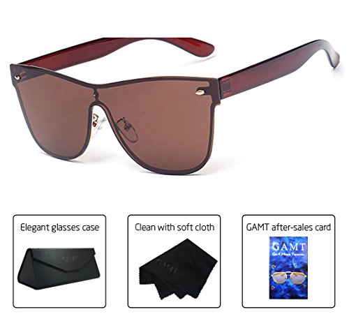 GAMT Wayfarer Sunglasses Integral Mirrored Lens Metal Frame Brown (Metal Free Rimless So Sunglasses)