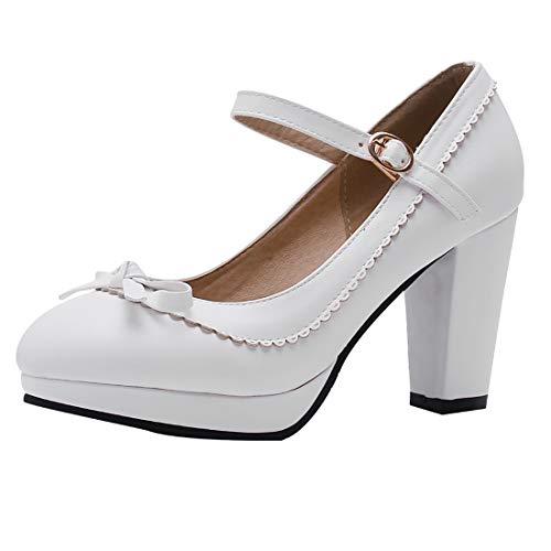 Vitalo Womens Vintage Rockabilly Shoes Mary Jane Chunky High Heels Platform Pumps with Bowtie Size 9 B(M) US,2 White