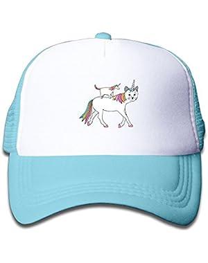 Trucker Cap Boy and Girl Cat-Unicorn On Unicorn-Cat Mesh Baseball Hat
