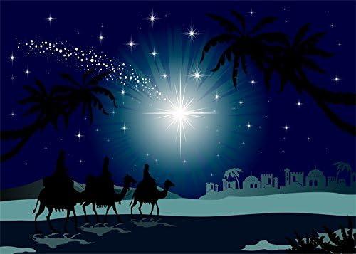10x8ft Vinyl Backdrop Jesus Christ Theme Photography Background Castle Desert Romantic Night View Coconut Tree Twinkle Stars Christmas Backdrop Photo Studio