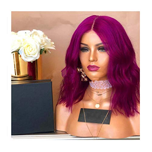JYS Women's Wine Red Fashion Natural Wavy Full Curl Wigs Heat Resistant Cosplay Party Halloween Costume Wigs for Women 26 Inches (Purple) -