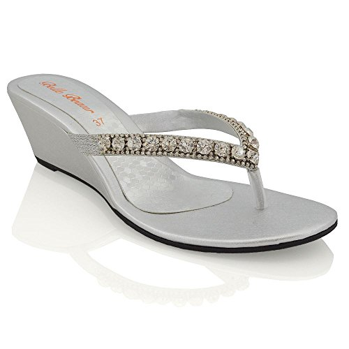Essex Glam Womens Low Heel Wedge Diamante Flip Flop Silver Synthetic Toepost Sparkly Slip On Sandals 8 B(M) US