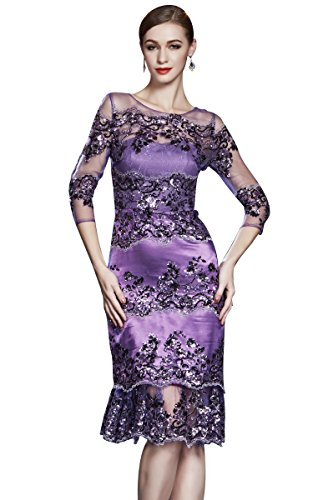 O Kalb Abendkleider Beauty Ansatz Mittler Langarm Violett Sheer Cocktail Emily Pailletten wFIqC