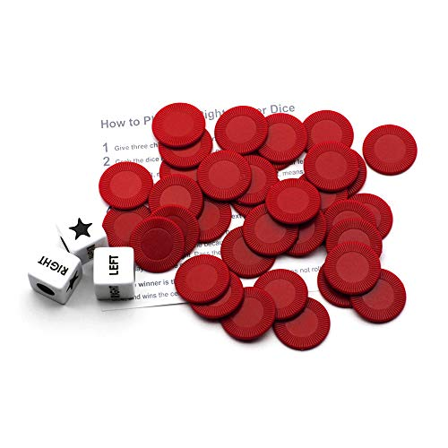 Annietfr Left Right Center Dice Game Set with 3 Dices + 36 Chips - (Red Chips)