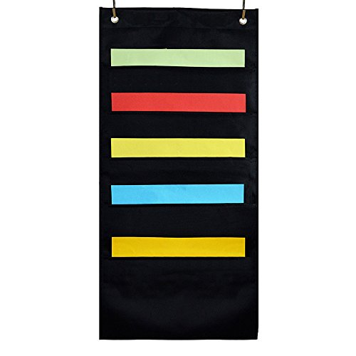 OFFICESHIP Hanging Wall Files Holder 5 Pockets with 2 Hangers Cascading, Pocket Chart File Folder Office Supplies Storage Organizer (Black)