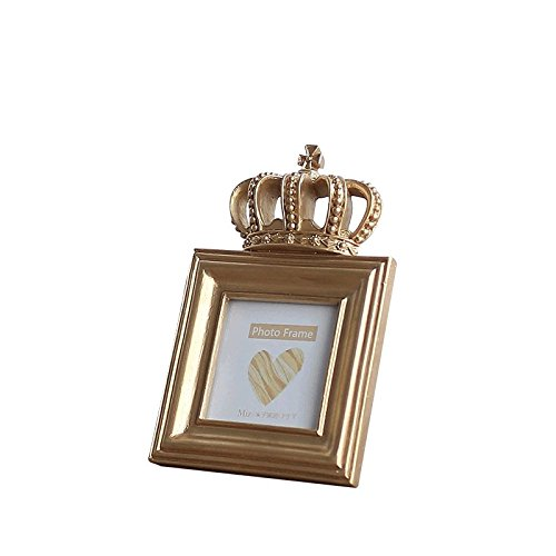 Indie shop Gold Color Luxury Style Crown Shape Resin Picture Frame 4x6 Inch Rectangle Bachelor Style Wall Hanging/Desktop Photo Frame ... (4 Inch -